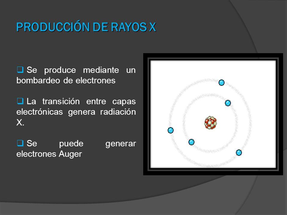 PRODUCCIÓN DE RAYOS X Se produce mediante un bombardeo de electrones