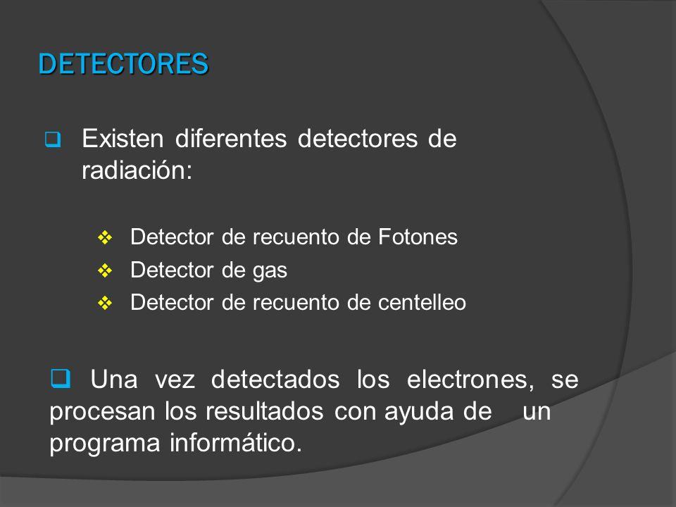 DETECTORES Existen diferentes detectores de radiación: