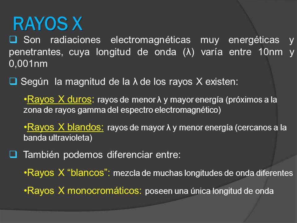 RAYOS X Son radiaciones electromagnéticas muy energéticas y penetrantes, cuya longitud de onda (λ) varía entre 10nm y 0,001nm.