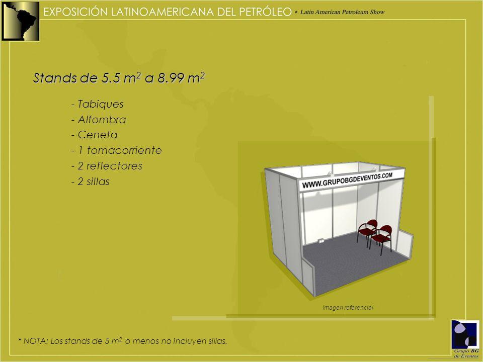 Stands de 5.5 m2 a 8.99 m2 - Tabiques - Alfombra - Cenefa