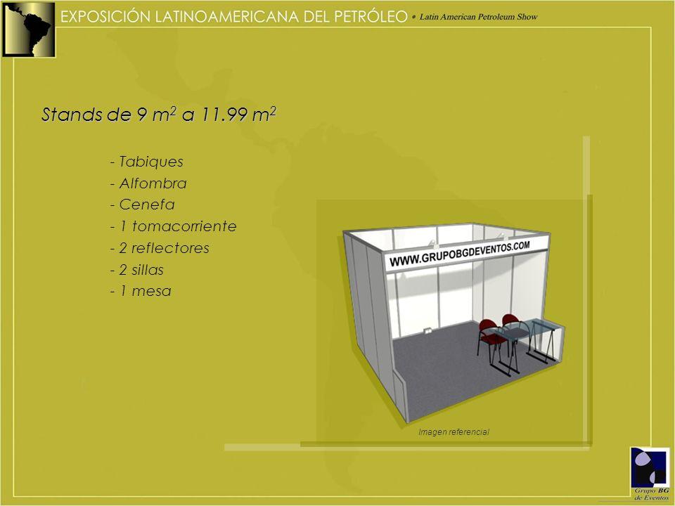 Stands de 9 m2 a 11.99 m2 - Tabiques - Alfombra - Cenefa