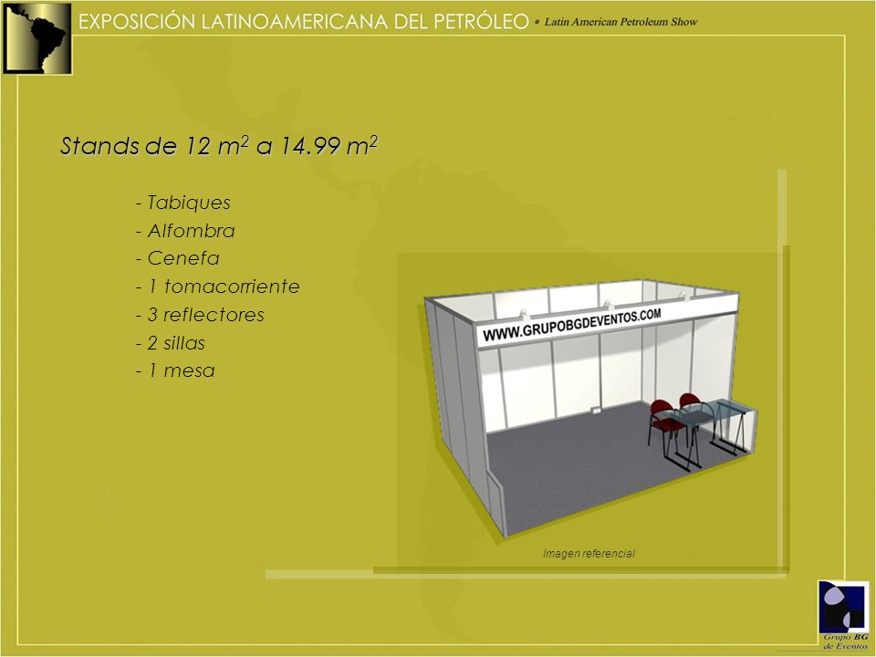 Stands de 12 m2 a 14.99 m2 - Tabiques - Alfombra - Cenefa