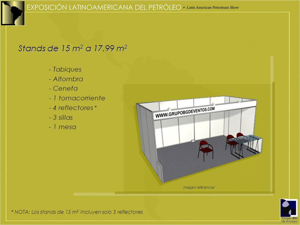 Stands de 15 m2 a 17.99 m2 - Tabiques - Alfombra - Cenefa