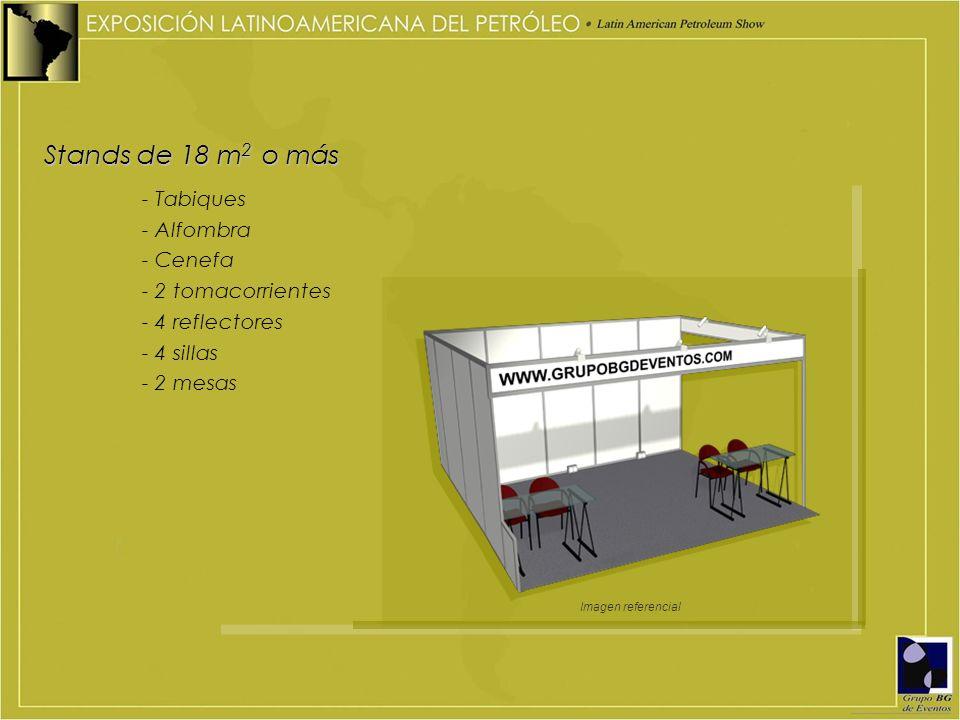 Stands de 18 m2 o más - Tabiques - Alfombra - Cenefa