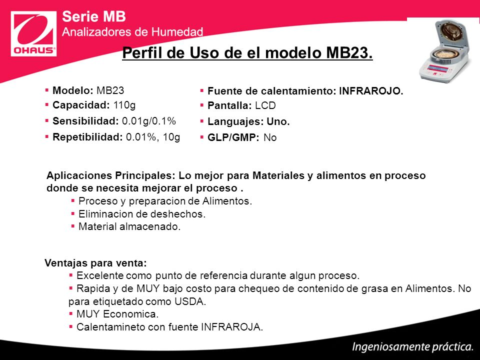 Perfil de Uso de el modelo MB23.