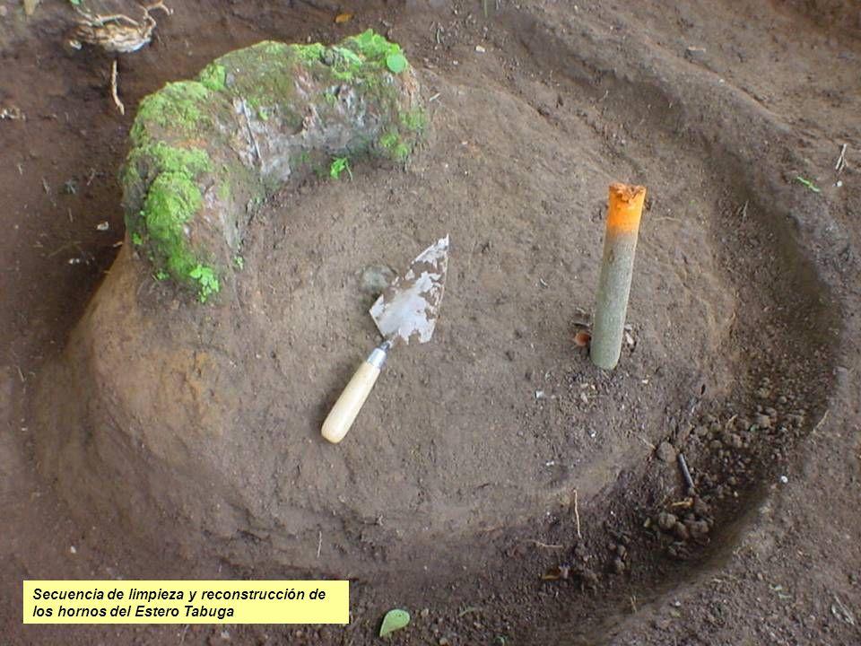 Secuencia de limpieza y reconstrucción de los hornos del Estero Tabuga