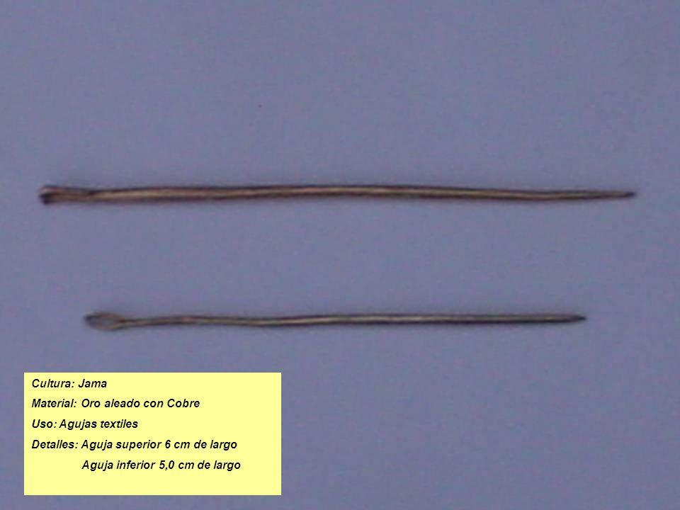 Cultura: Jama Material: Oro aleado con Cobre. Uso: Agujas textiles. Detalles: Aguja superior 6 cm de largo.