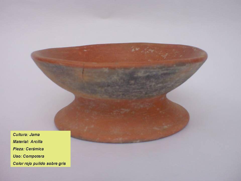 Cultura: Jama Material: Arcilla Pieza: Cerámica Uso: Compotera Color rojo pulido sobre gris