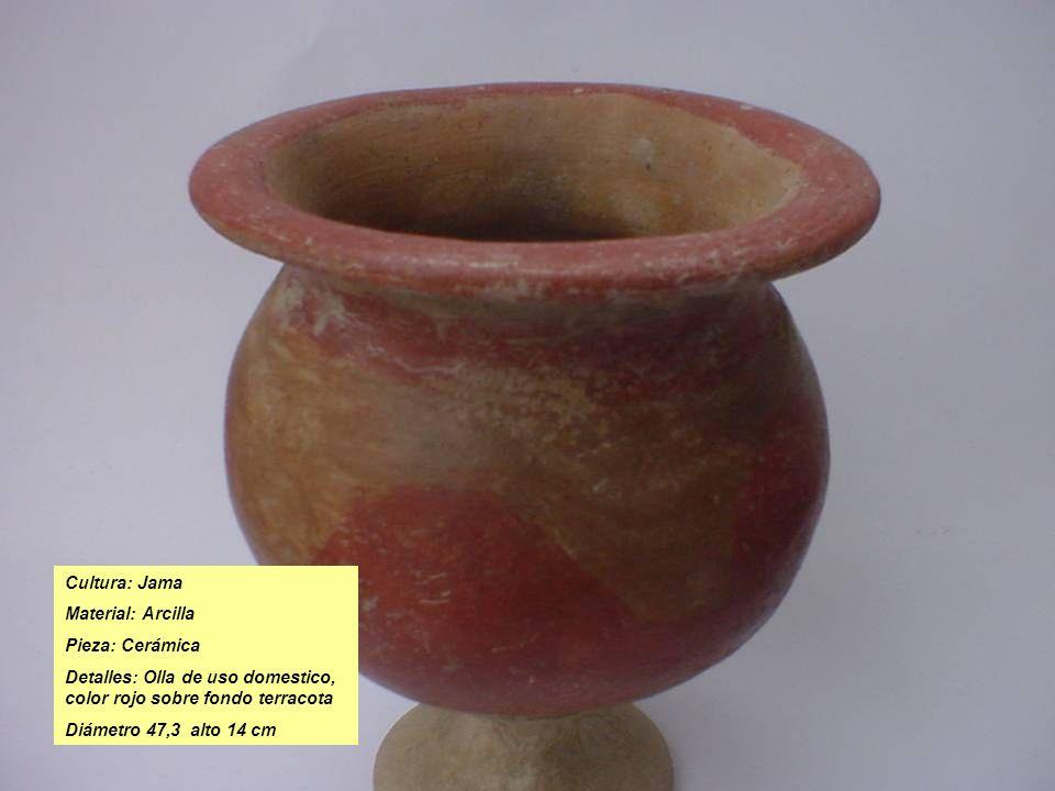 Cultura: Jama Material: Arcilla. Pieza: Cerámica. Detalles: Olla de uso domestico, color rojo sobre fondo terracota.