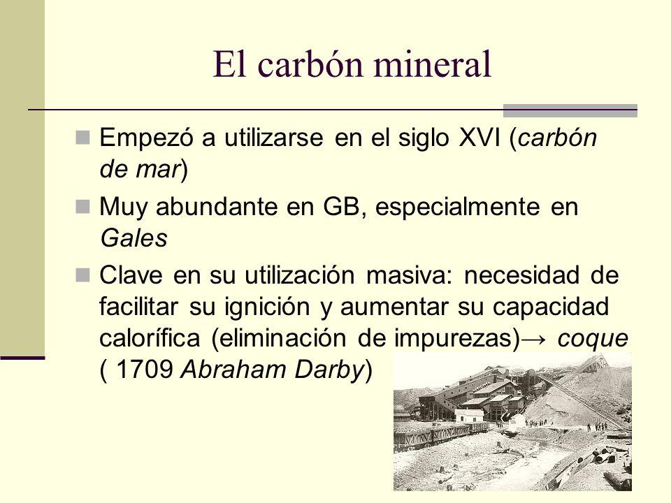 El carbón mineral Empezó a utilizarse en el siglo XVI (carbón de mar)