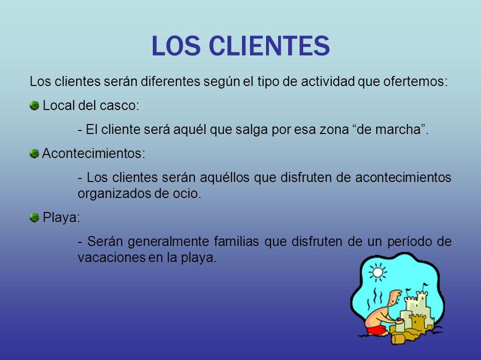 LOS CLIENTES Los clientes serán diferentes según el tipo de actividad que ofertemos: Local del casco: