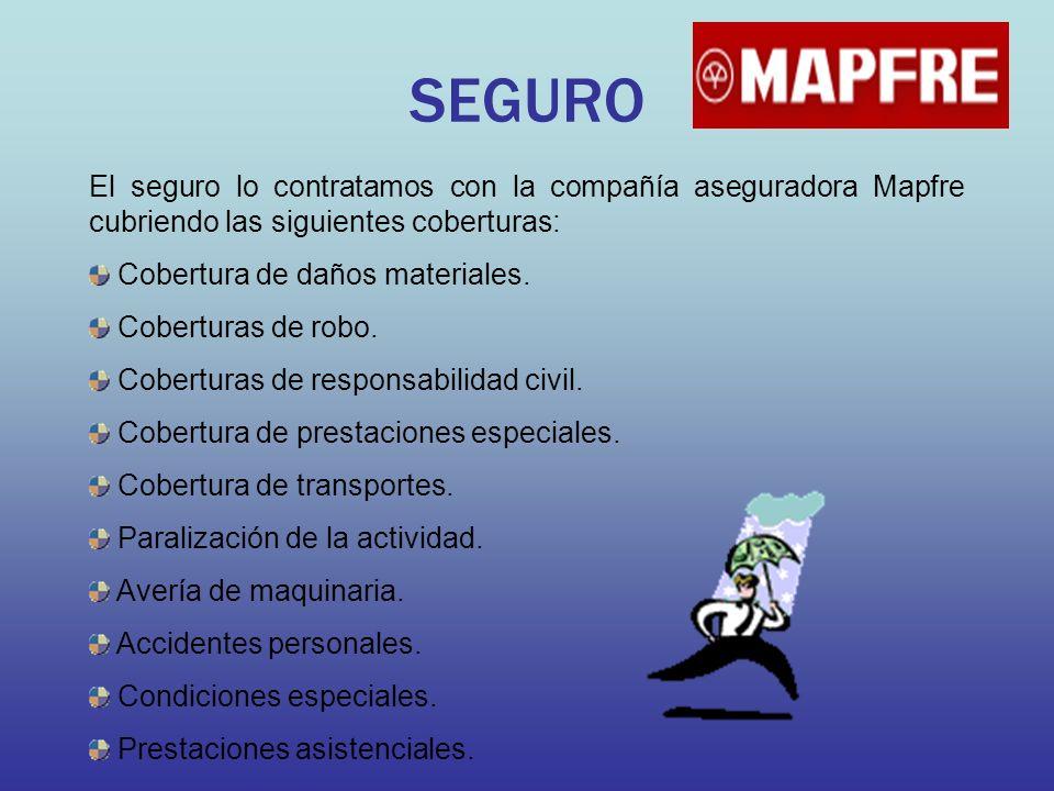 SEGURO El seguro lo contratamos con la compañía aseguradora Mapfre cubriendo las siguientes coberturas: