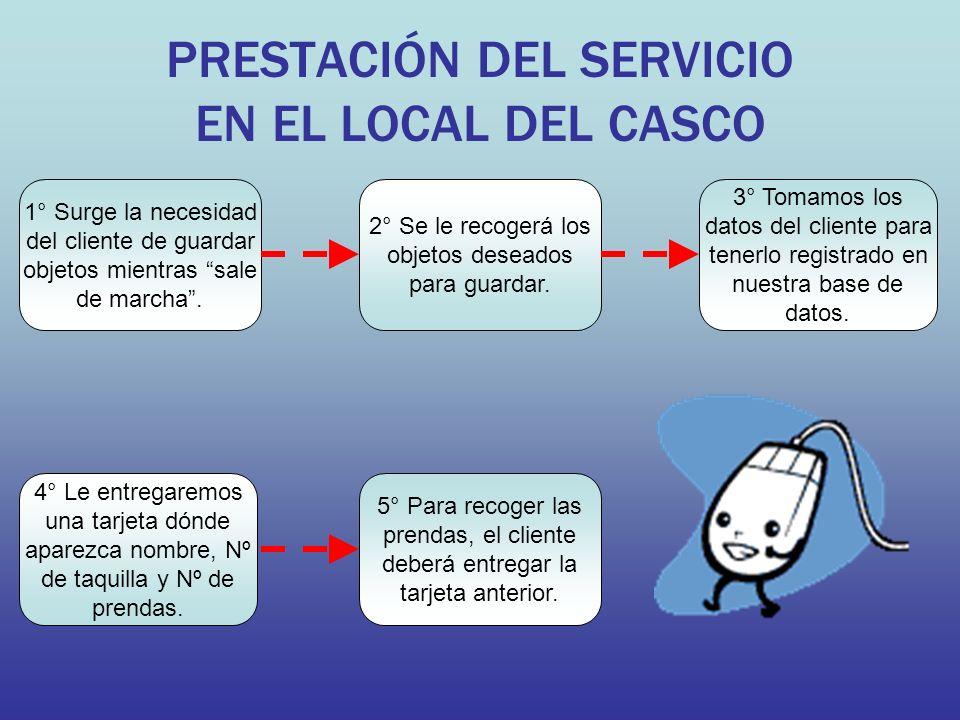PRESTACIÓN DEL SERVICIO EN EL LOCAL DEL CASCO