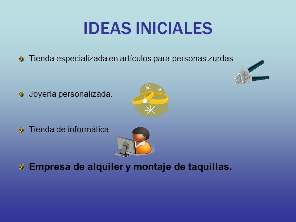IDEAS INICIALES Empresa de alquiler y montaje de taquillas.