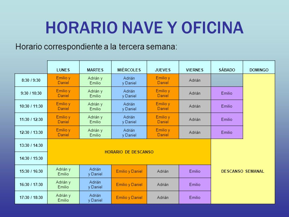HORARIO NAVE Y OFICINA Horario correspondiente a la tercera semana: