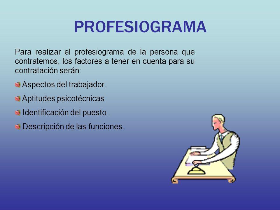 PROFESIOGRAMA Para realizar el profesiograma de la persona que contratemos, los factores a tener en cuenta para su contratación serán: