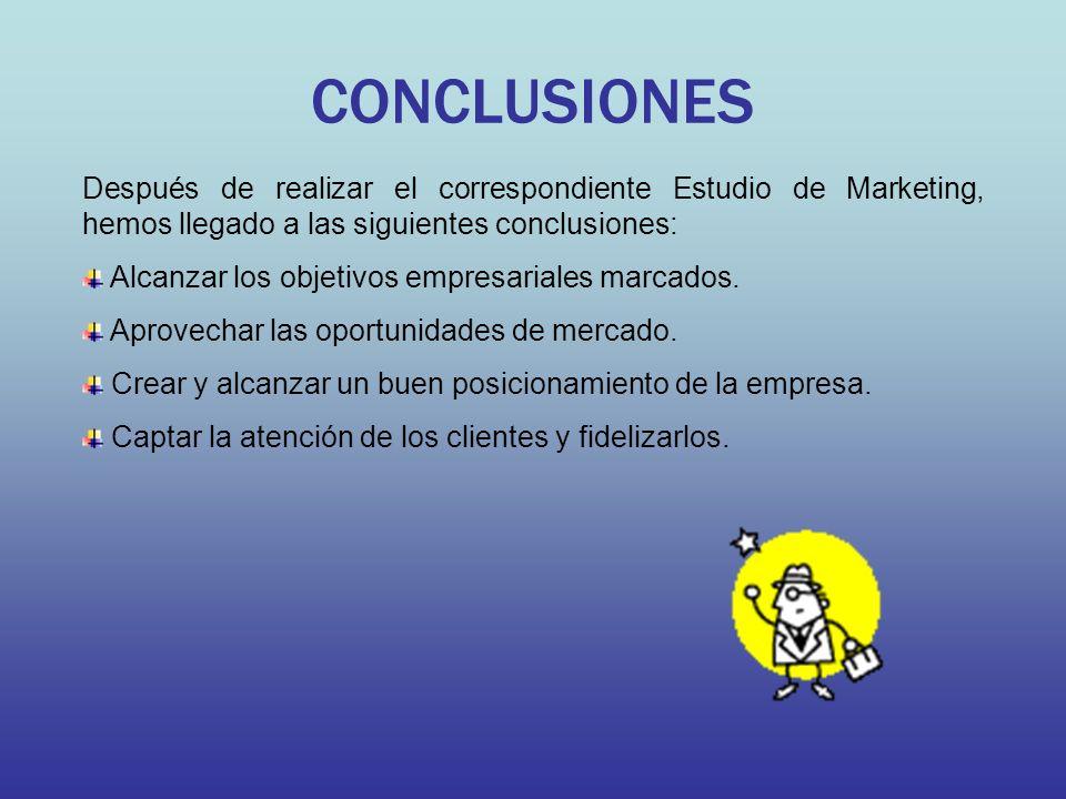 CONCLUSIONES Después de realizar el correspondiente Estudio de Marketing, hemos llegado a las siguientes conclusiones: