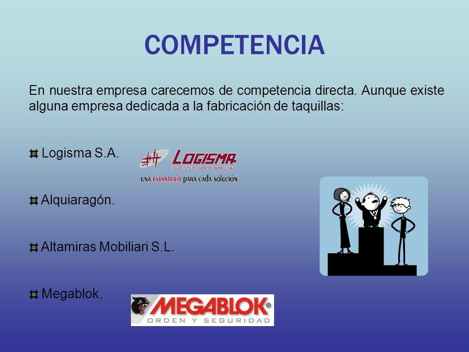 COMPETENCIA En nuestra empresa carecemos de competencia directa. Aunque existe alguna empresa dedicada a la fabricación de taquillas: