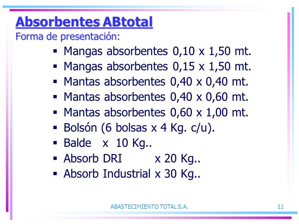 Absorbentes ABtotal Forma de presentación: