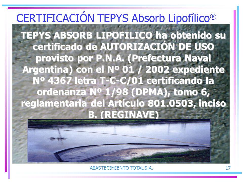 CERTIFICACIÓN TEPYS Absorb Lipofílico®