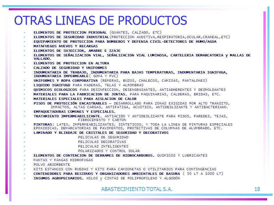 OTRAS LINEAS DE PRODUCTOS