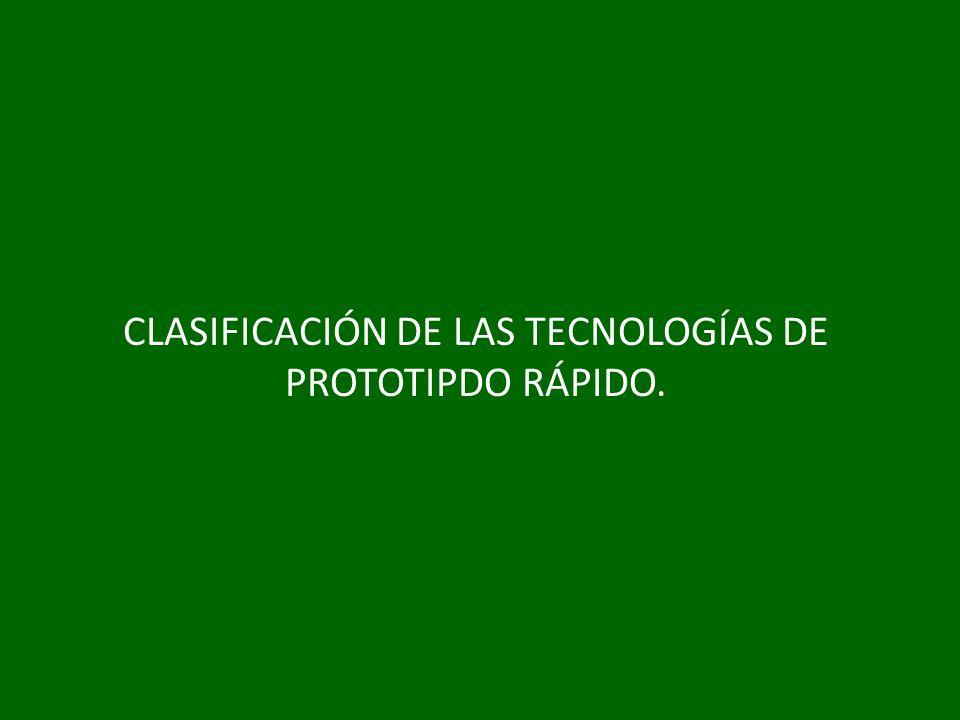 CLASIFICACIÓN DE LAS TECNOLOGÍAS DE PROTOTIPDO RÁPIDO.