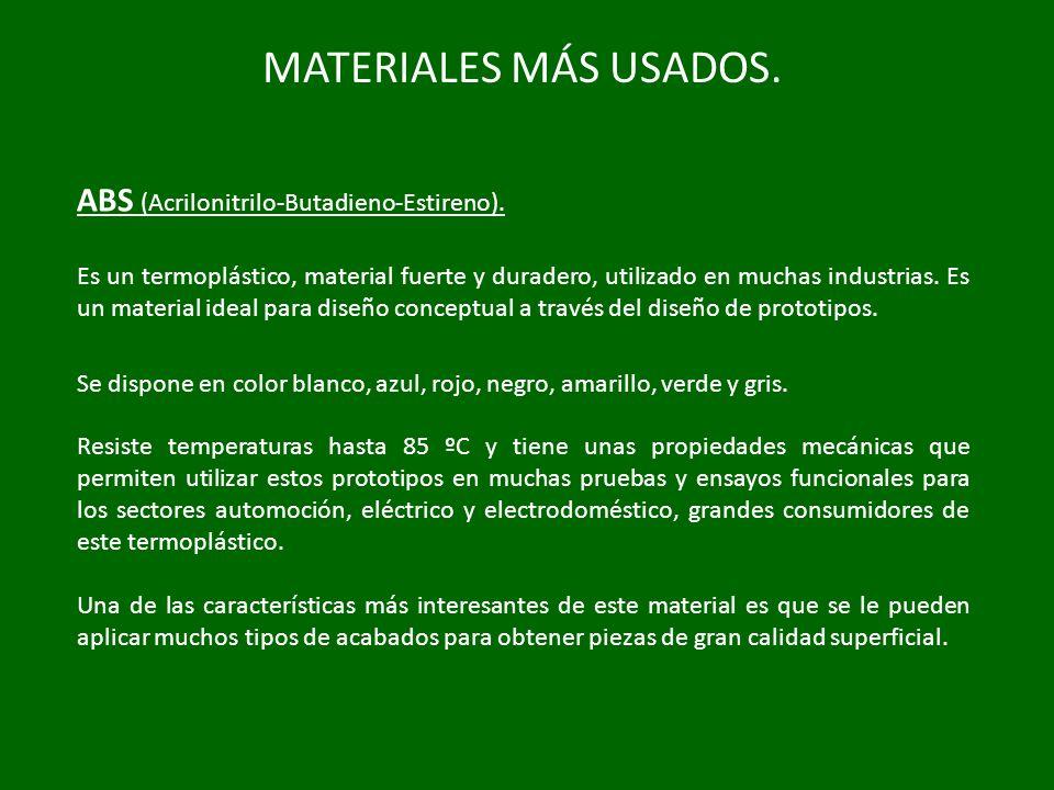MATERIALES MÁS USADOS. ABS (Acrilonitrilo-Butadieno-Estireno).