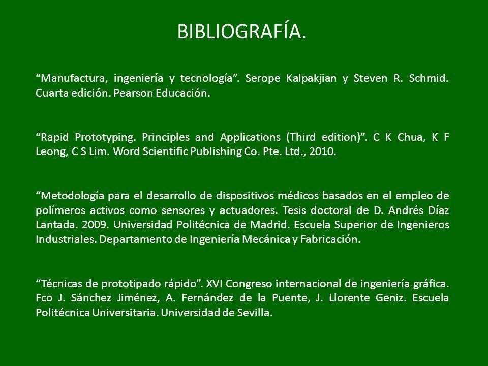 BIBLIOGRAFÍA. Manufactura, ingeniería y tecnología . Serope Kalpakjian y Steven R. Schmid. Cuarta edición. Pearson Educación.