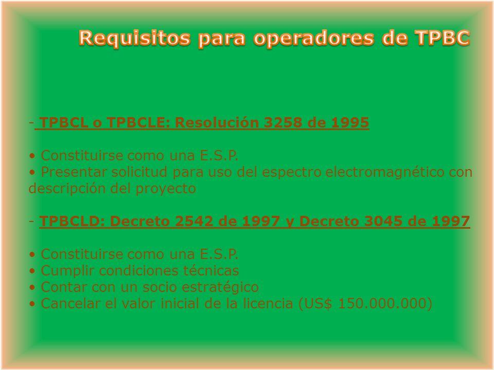 Requisitos para operadores de TPBC