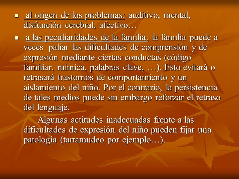 al origen de los problemas: auditivo, mental, disfunción cerebral, afectivo…