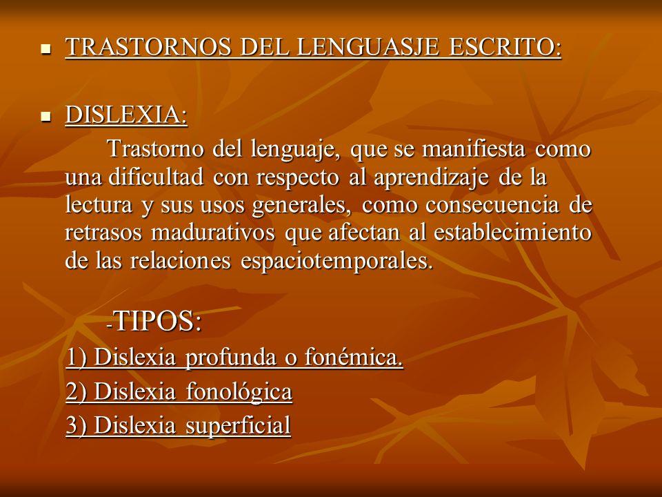 TRASTORNOS DEL LENGUASJE ESCRITO: DISLEXIA:
