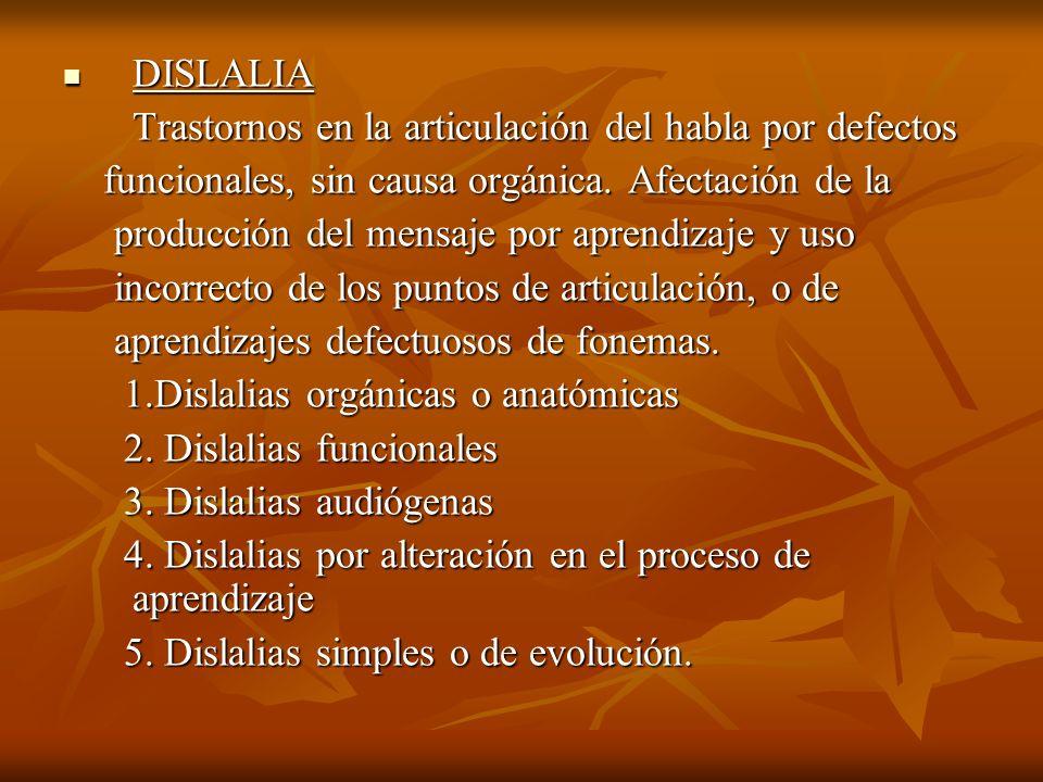 DISLALIA Trastornos en la articulación del habla por defectos. funcionales, sin causa orgánica. Afectación de la.
