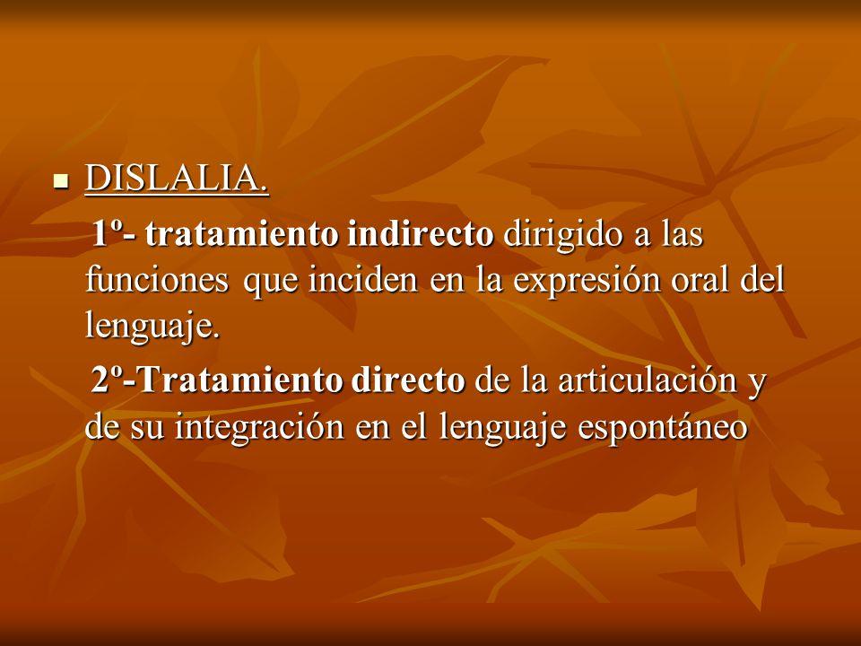 DISLALIA. 1º- tratamiento indirecto dirigido a las funciones que inciden en la expresión oral del lenguaje.