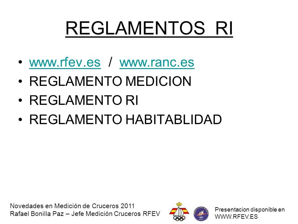 REGLAMENTOS RI www.rfev.es / www.ranc.es REGLAMENTO MEDICION