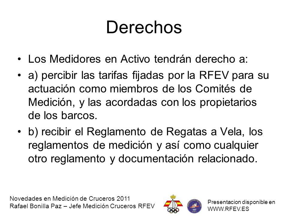 Derechos Los Medidores en Activo tendrán derecho a: