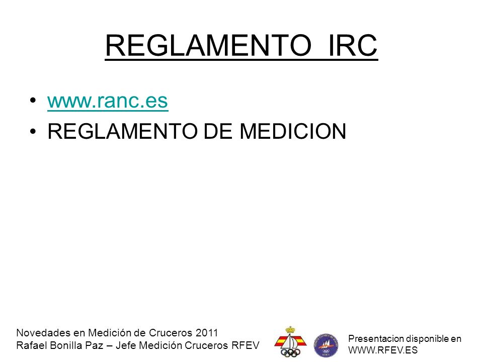 REGLAMENTO IRC www.ranc.es REGLAMENTO DE MEDICION