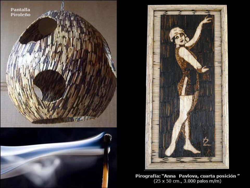 Pantalla Piroleño Pirografía: Anna Pavlova, cuarta posición (25 x 50 cm., 3.000 palos m/m)