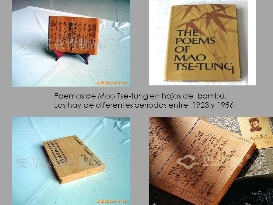 Poemas de Mao Tse-tung en hojas de bambú