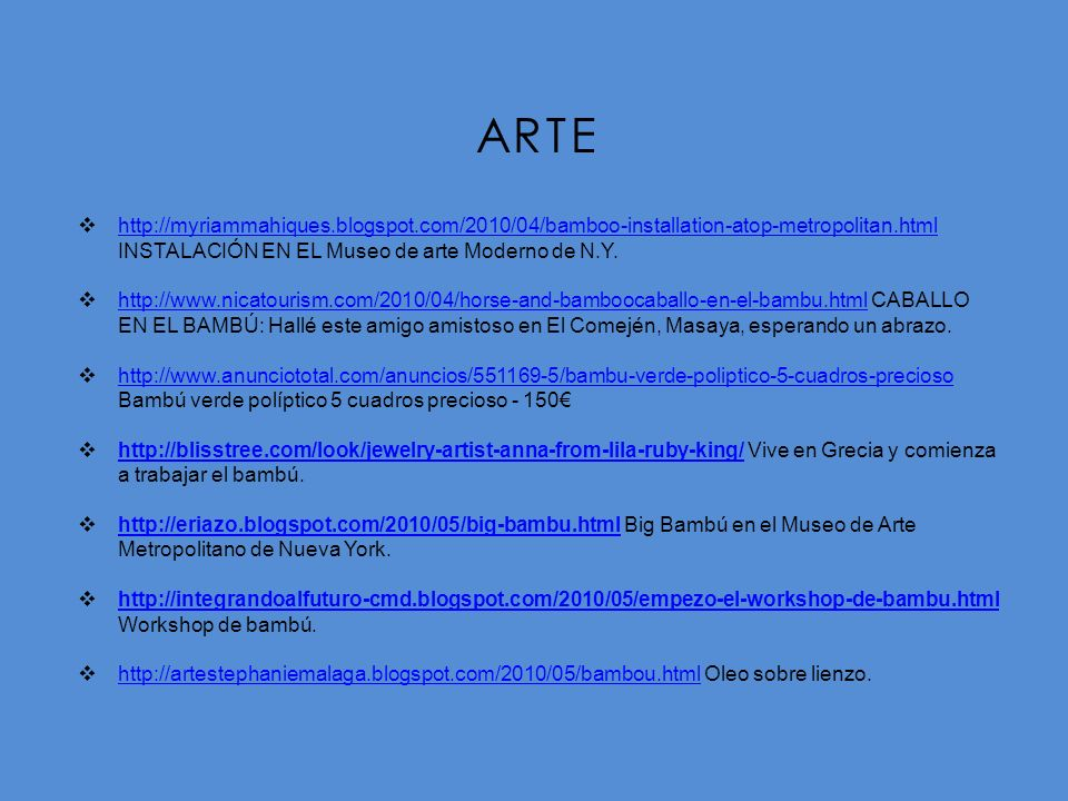 ARTE http://myriammahiques.blogspot.com/2010/04/bamboo-installation-atop-metropolitan.html. INSTALACIÓN EN EL Museo de arte Moderno de N.Y.