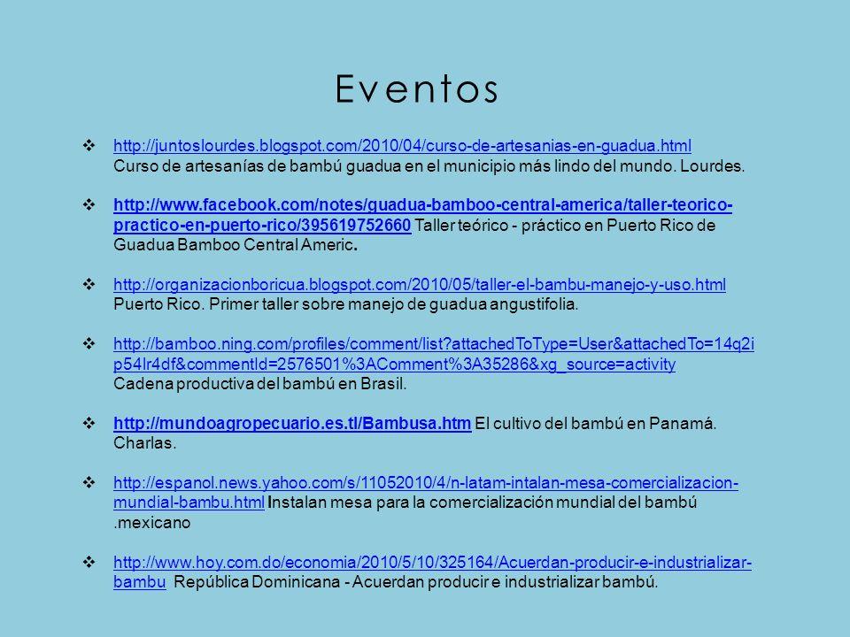 Eventos http://juntoslourdes.blogspot.com/2010/04/curso-de-artesanias-en-guadua.html.