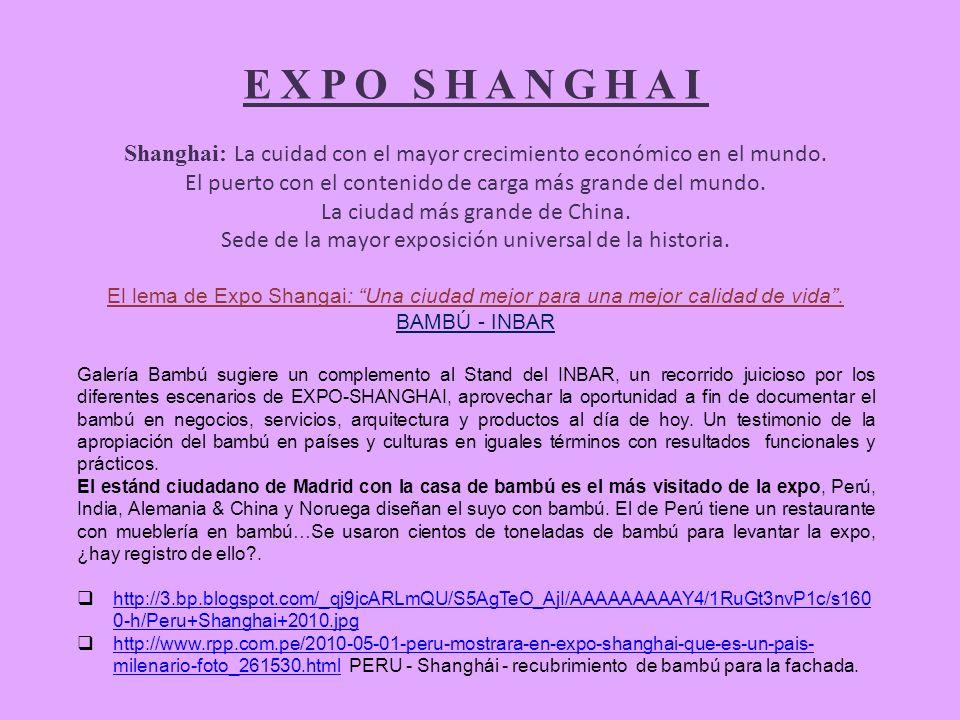 EXPO SHANGHAI Shanghai: La cuidad con el mayor crecimiento económico en el mundo. El puerto con el contenido de carga más grande del mundo.