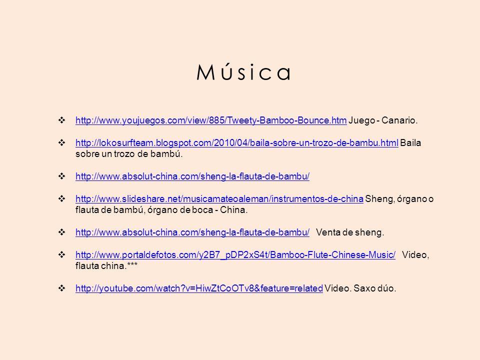 Música http://www.youjuegos.com/view/885/Tweety-Bamboo-Bounce.htm Juego - Canario.