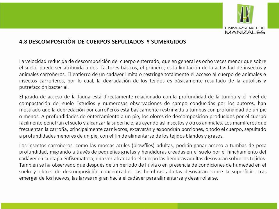 4.8 DESCOMPOSICIÓN DE CUERPOS SEPULTADOS Y SUMERGIDOS