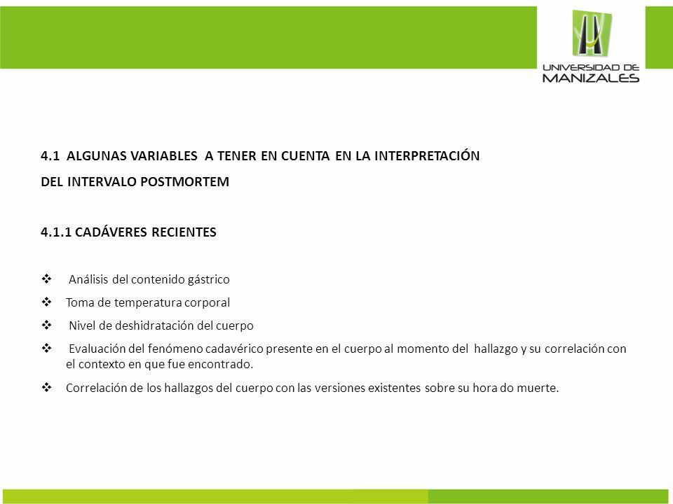 4.1 ALGUNAS VARIABLES A TENER EN CUENTA EN LA INTERPRETACIÓN
