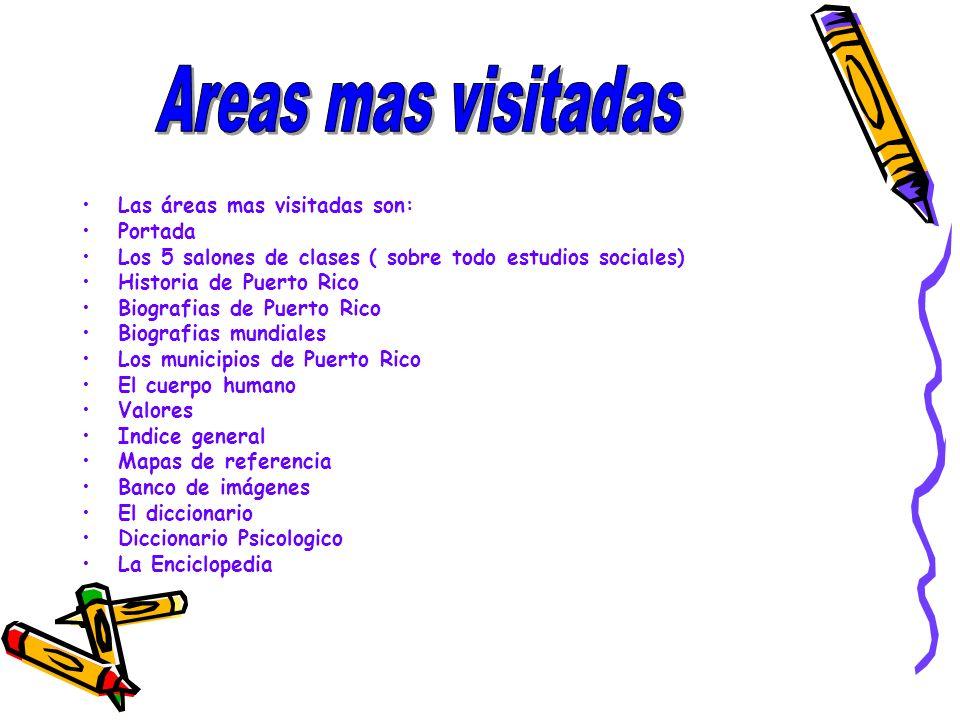 Areas mas visitadas Las áreas mas visitadas son: Portada