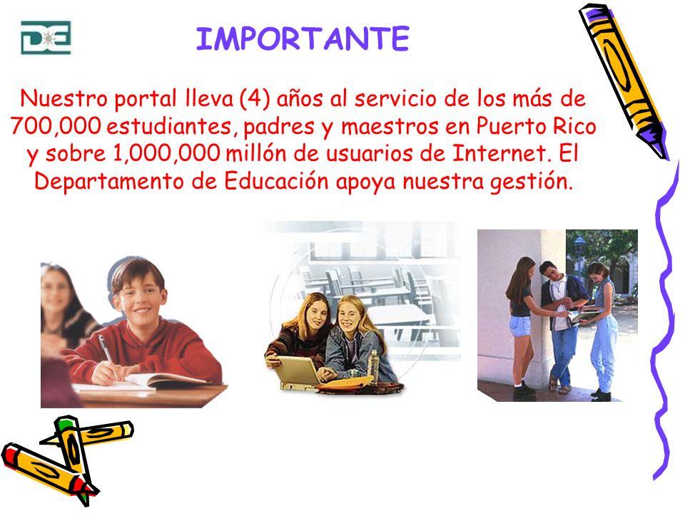 IMPORTANTE Nuestro portal lleva (4) años al servicio de los más de 700,000 estudiantes, padres y maestros en Puerto Rico y sobre 1,000,000 millón de usuarios de Internet.