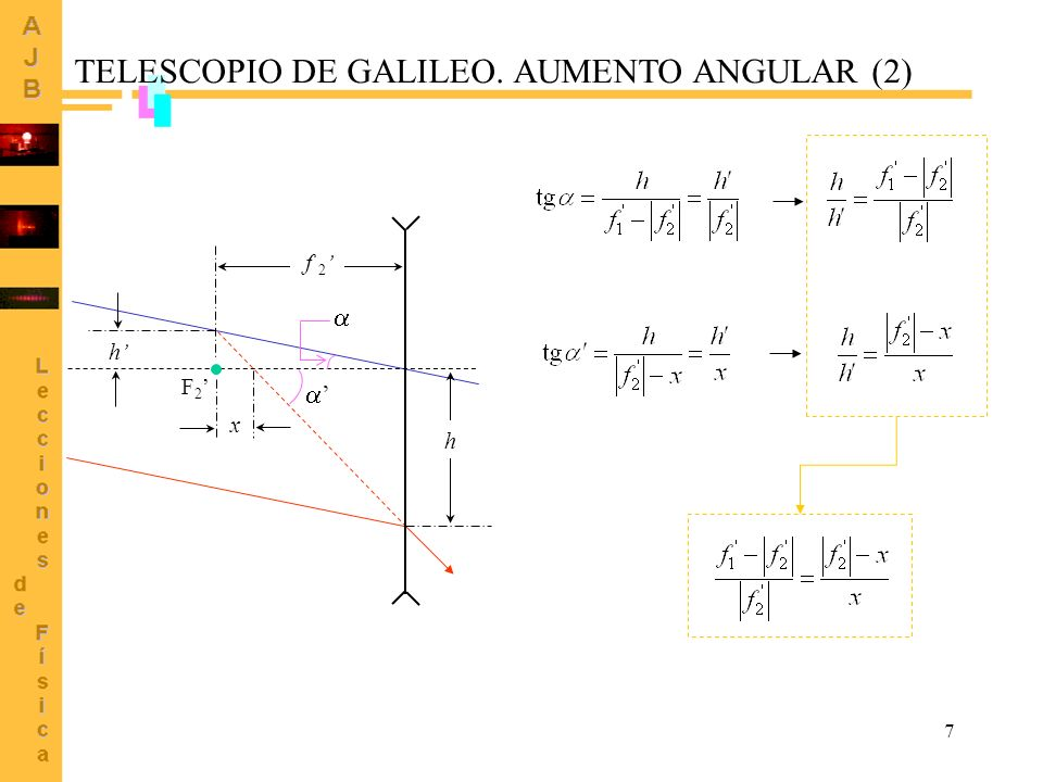 TELESCOPIO DE GALILEO. AUMENTO ANGULAR (2)