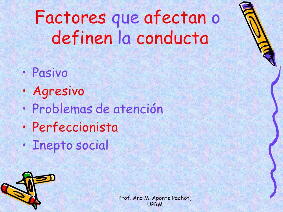 Factores que afectan o definen la conducta