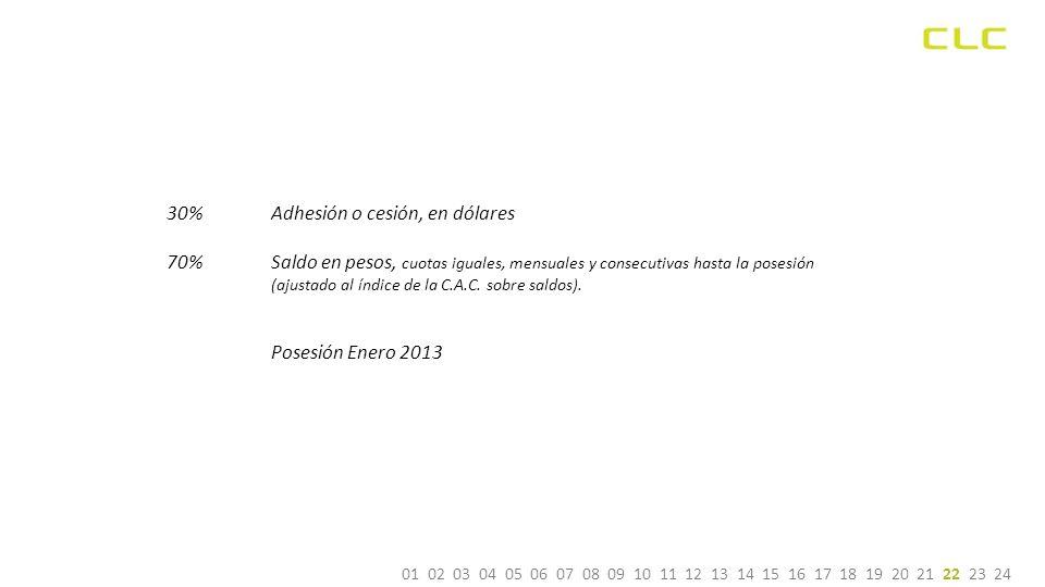 Posesión Enero 2013 30% Adhesión o cesión, en dólares