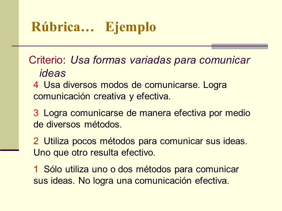 Rúbrica… Ejemplo Criterio: Usa formas variadas para comunicar ideas